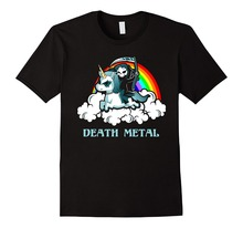 цена Unicorn Death Metal Rocker Go To Hell Shirt Cartoon Print Short Sleeve T Shirt drop shipping онлайн в 2017 году