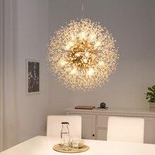Светодиодная люстра с искровым шариком, Оригинальная лампа со стразами для гостиной, бара