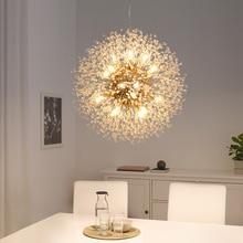 Spark Ball oświetlenie ledowe żyrandol dmuchawiec żyrandol jadalnia salon Bar osobowość kreatywny artystyczny haft kryształkowy lampy