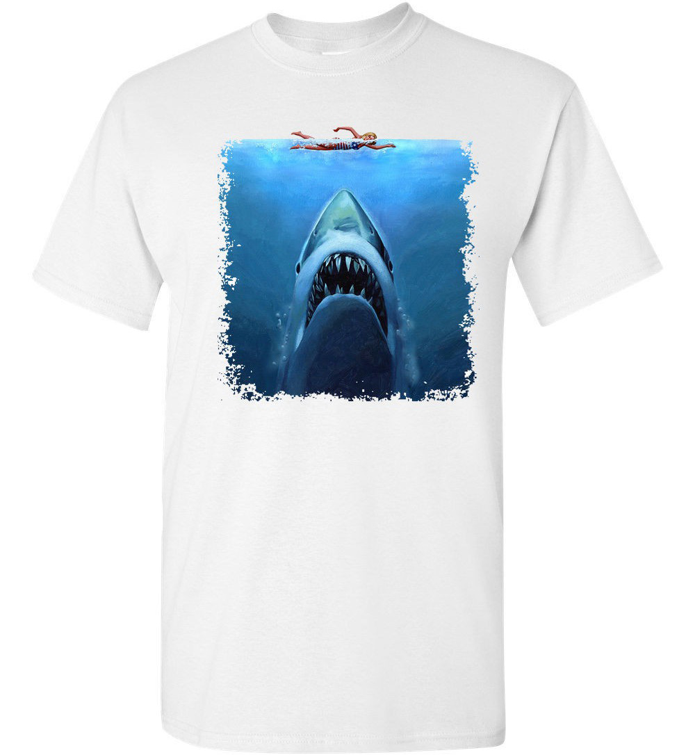 T Shirt Men Casual Cotton Short Sleeve Shark Jaws Swimmer Attack Movie Shark Week Sublimation Men'S Tee Shirt image