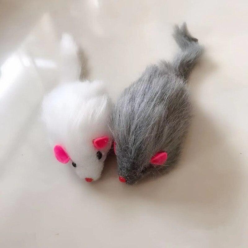 5 шт./лот накладная мышь, игрушка для кошек, мыши с длинным хвостом со звуком, погремучая мягкая игрушка из натурального кроличьего меха для к...