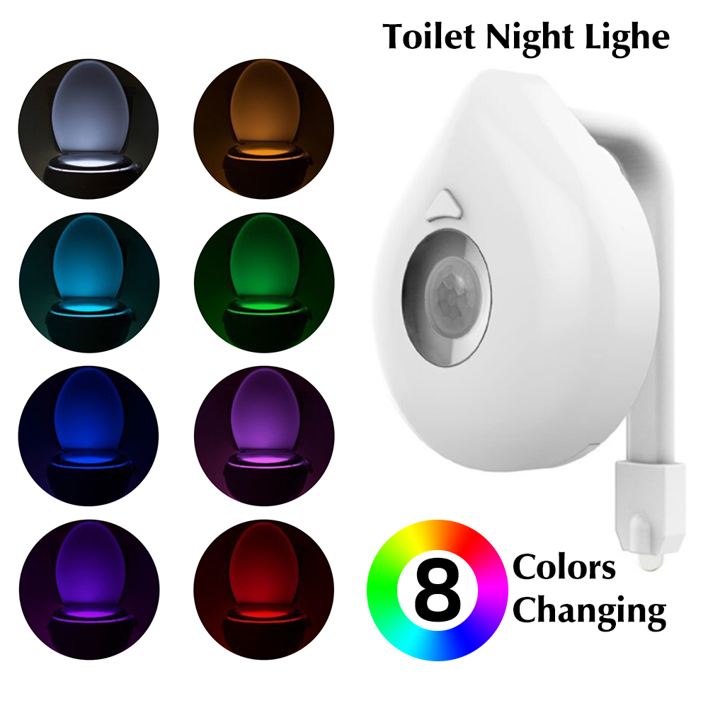 New Washingroom Bathroom Motion Bowl Toilet Light Activated On/Off Lights Seat Sensor Lamp Lightlight Seat Light