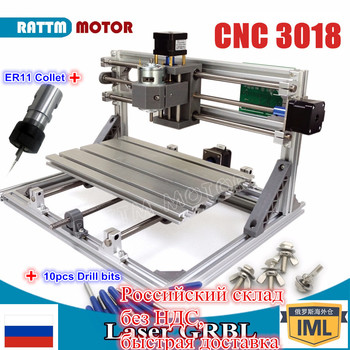 цена на RUS Ship!! CNC 3018 GRBL control Diy CNC machine 30x18x4.5cm,3 Axis Pcb Pvc Milling machine Wood Router laser engraving v2.5