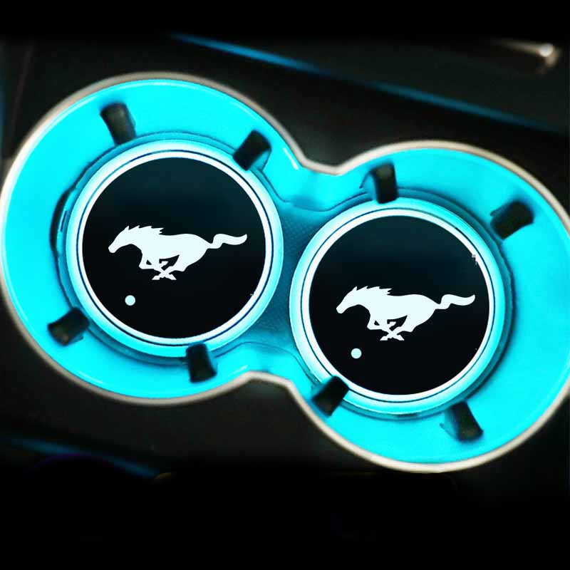 LED Car multicolor atmosphere light water coaster For Ford Mustang Universal Big Size Mustang Shelby GT sticker accessories