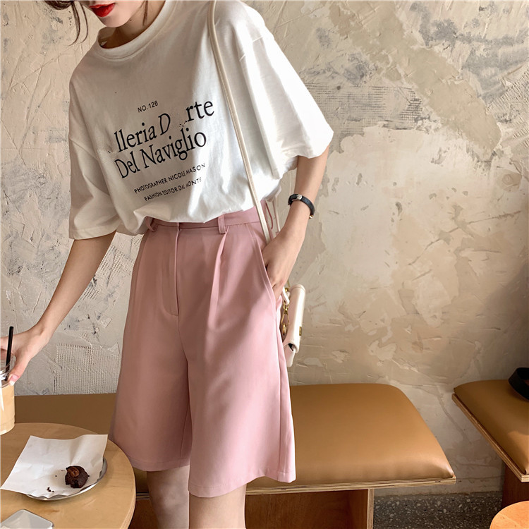 Hb3dcb4cc41f24f0fa98a17912795a38bO - Summer High Waist Wide Leg Loose Solid Shorts