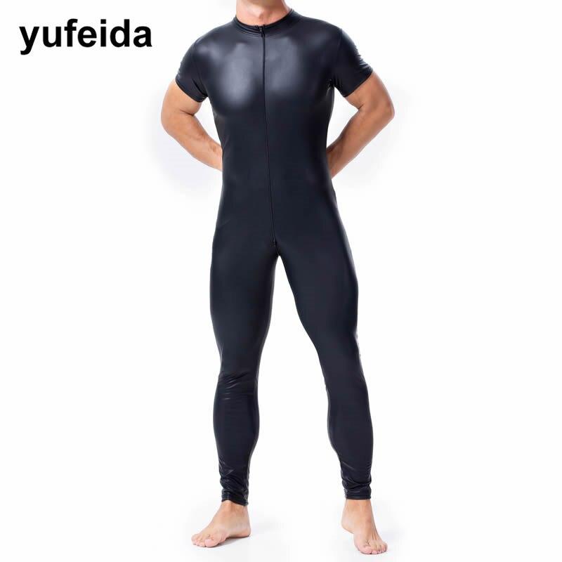 Men Pants Trousers PU Leather Bodysuit Mens Clothes Wrestling Singlet Jumpsuit Leotard Catsuit Zipper Party Stage Dance Clubwear