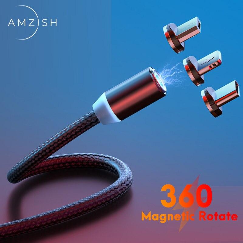 Amzish Быстрая зарядка Магнитный Кабель с разъемом Micro USB Type-C кабель для передачи данных для Iphone Xiaomi Мобильный телефон магнит для зарядки и пере...