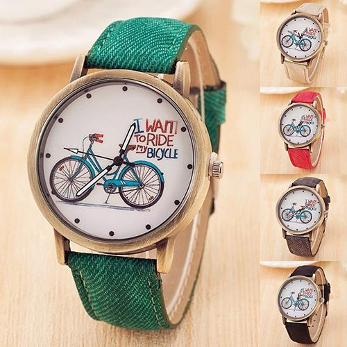 Women Casual Dial Fabric Strap Quartz Analog Wrist Watch Bike Pattern Round
