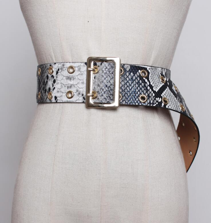 Women's Runway Fashion Snakeskin Print Pu Leather Cummerbunds Female Dress Corsets Waistband Belts Decoration Wide Belt R1881