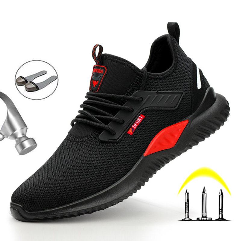 Safety Shoes With Metal Toe Boots Men Work Boots Breathable Sneakers Puncture-Proof Indestructible MenS Safety Work Boots
