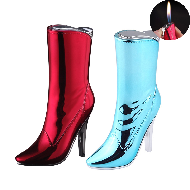 Beautiful Ladies Boots Gas Inflatable Lighter Strange New Creative High-heeled Shoes Flame Lighters Women's Smoking Gift