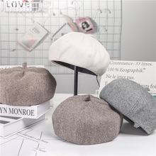 Berets Autumn and Winter Womens Thick Korean Japanese Joker Octagonal Hat Retro Plaid English Fashion Artist Wholesale