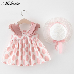 Melario Baby Girls Dresses With Hat 2pcs Clothes Sets Kids Clothes Baby Sleeveless Birthday Party Princess Dress Print Floral(China)