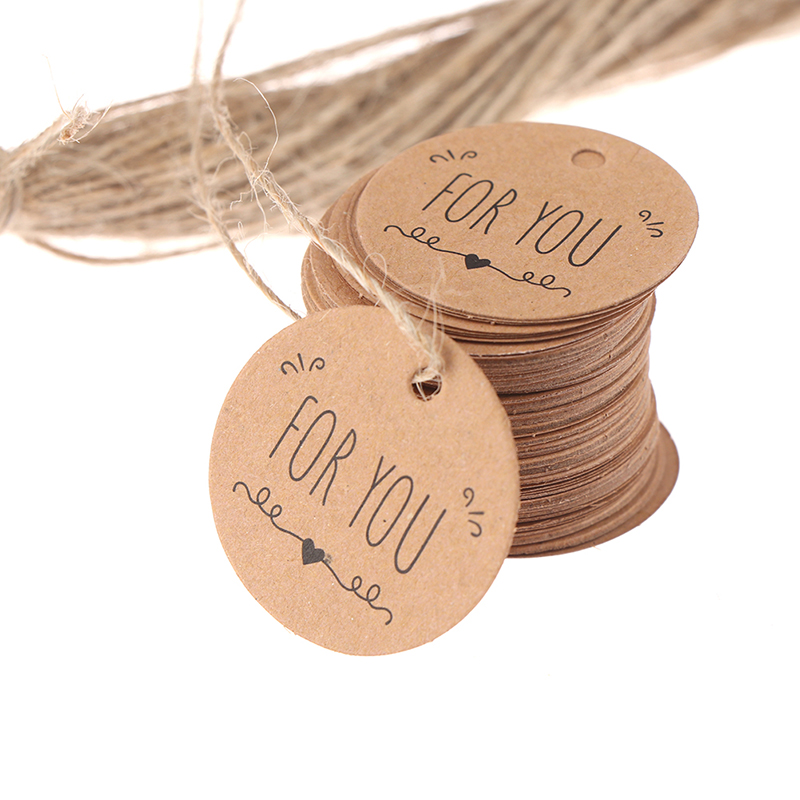 100 шт. крафт бумажные бирки для подарков для вас для празднования этикетки ручной работы для Свадебная вечеринка украшения упаковка с вешаю...