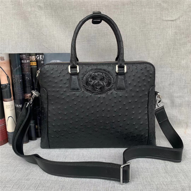 Authentic Exotic Ostrich Skin Zipper Closure Businessmen Laptop Briefcase Genuine Alligator Leather Male Large Working Handbag