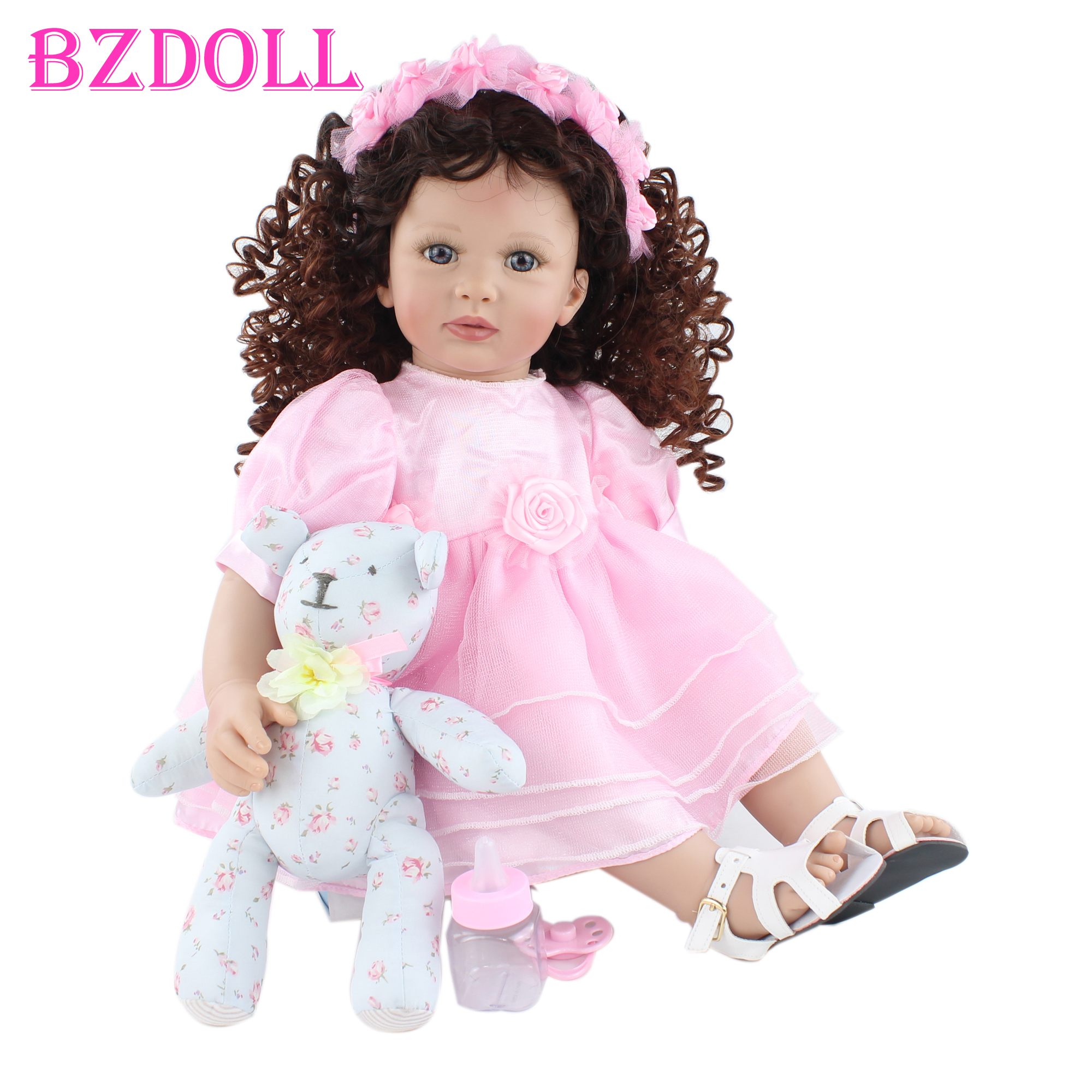 60cm Soft Silicone Reborn Toddler Doll For Girl Cloth Body Pink Dress Princess Baby Lovely Kids Birthday Gift Play House Toy