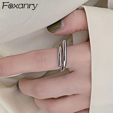 Foxanry Minimalist 925 Sterling Silver Smooth Rings for Women Creative Fashion Geometric Party Jewelry Gifts Prevent Allergy(China)