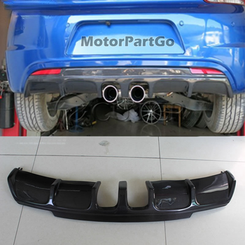 R20 style Car Rear Lip Carbon Fiber Back Bumper Spoiler Diffuser for Volkswagen Scirocco R bumper middle two out Exhaust 09-15 1