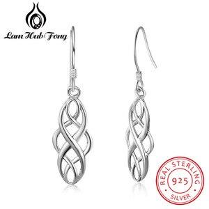 925 Sterling Silver Earrings for Women Braided Shape 21mm Dangle Drop Earrings Simple Jewelry Anniversary Gift (Lam Hub Fong)