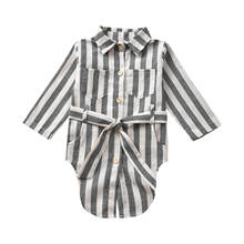 1-5Years NEW Sweet Infant Baby Girl Kid Button Striped Strap Shirt Tee Tops Outfits Clothes slim striped fitted tee