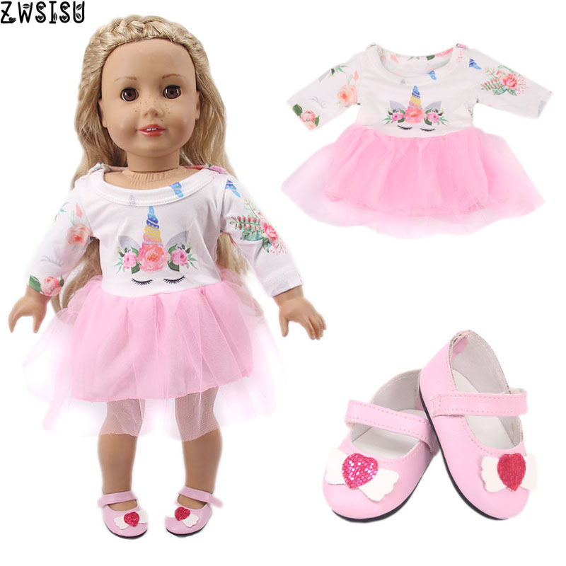 Doll Clothes Bow Tie+Dress+Shoes 14 Styles Available For 18 Inch American&43 Cm Born Doll Generation Christmas Baby Girl`s Toy