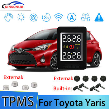 XINSCNUO Car TPMS For Toyota Yaris Tire Pressure and Temperature Monitoring System with 4 Sensors tn400 wireless tire pressure monitoring tpms system monitor 4 internal sensors for renault peugeot toyota and all car free ship