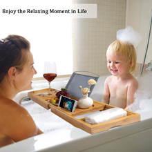 Bandeja de banheira de bambu extensível antiderrapante banheira spa caddy organizador livro vinho tablet titular rack leitura