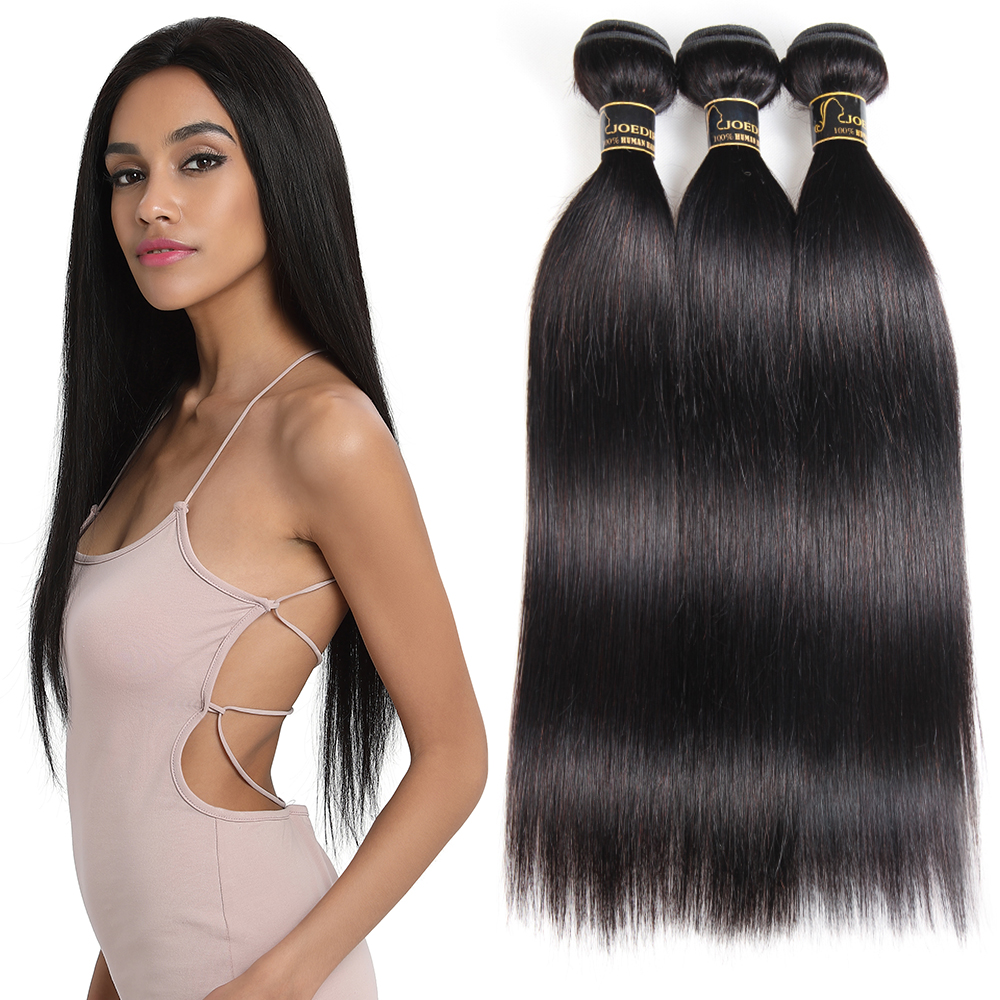 Joedir Remy Brazilian Straight Hair 100% Human Hair Weave Bundles 3 & 4 Bundles Deal Straight Hair Bundles Free Shipping