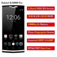 Oukitel K10000 Pro MT6750T Octa Core 10000mAh Mobile Phone 5.5 Inch FHD 3GB+32GB Android7 OTG 13MP Fingerprint 4G LTE SmartPhone