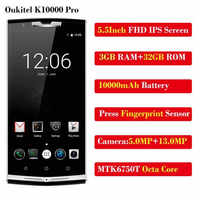 Oukitel K10000 Pro MT6750T Octa Core 10000mAh Mobile Phone 5.5 Inch FHD 3GB+32GB Android7 OTG 13MP Fingerprint 4G LTE SmartPhone