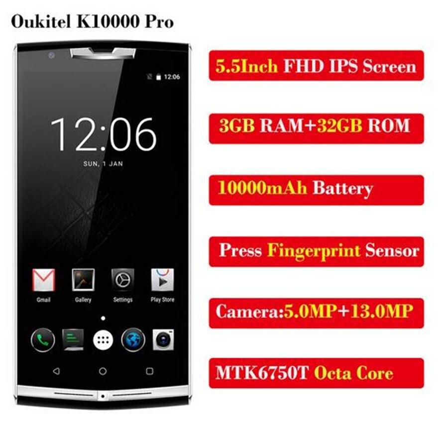 Oukitel K10000 Pro MT6750T Octa Core 10000mAh téléphone portable 5.5 pouces FHD 3GB + 32GB Android7 OTG 13MP empreinte digitale 4G LTE SmartPhone