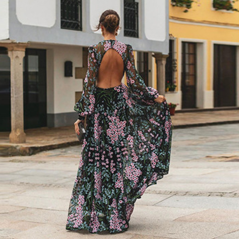 Women Summer Dress 2019 Casual Long Sleeve Backless Long Dress Boho Floral Print Maxi Dress O neck Elegant Dresses Vestidos|Dresses|   - AliExpress