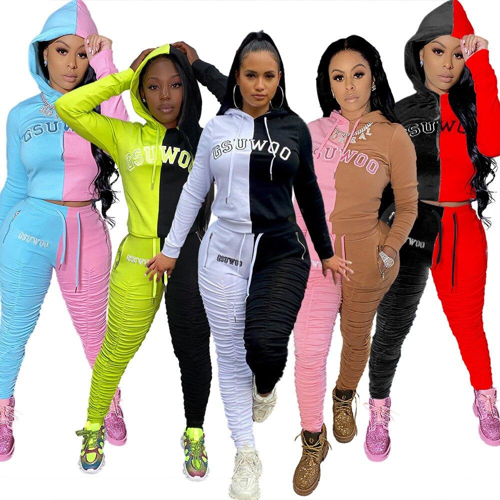 Wjustforu Winter Casual Hoodies Tracksuit For Women ZIP Neck Sweatshirt + Pencil Pants Female 4 Color Sport Two Piece Set Slim