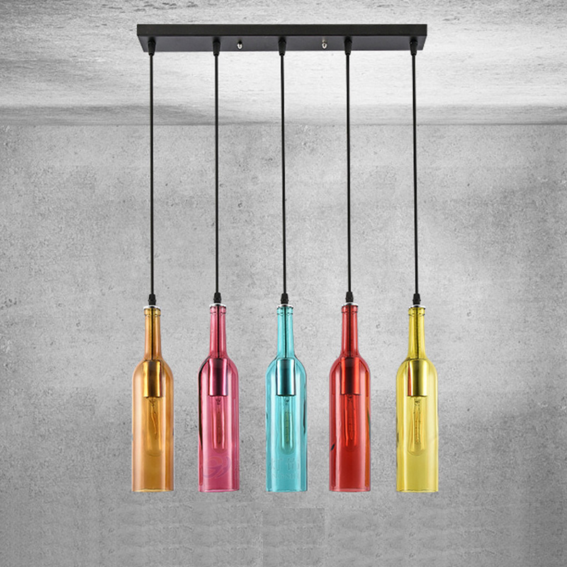 Vintage Industrial Colored Glass Pendant Light Wine Bottle Chandelier For Cafe Loft Restaurant  TSH Shop