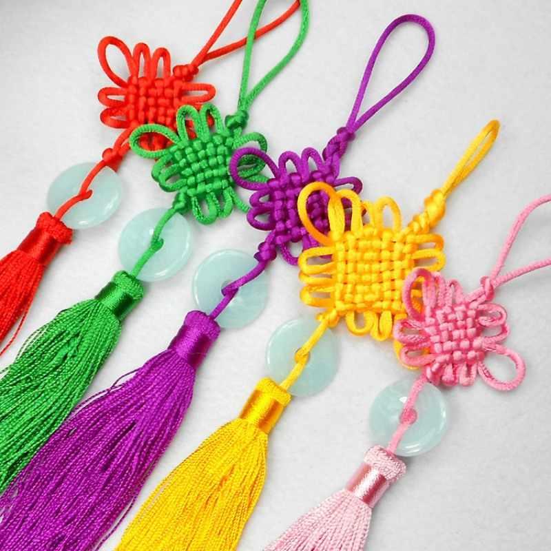 小さなヒスイピース中国ノットタッセル中国芸術品や工芸品ギフトチャームハング装飾ペンダント