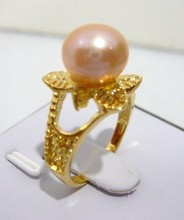 2 colors wholesale gift 18kgp crystal plated flower 10mm pink/black shell pearl bead ring (7,8,9#) R014(China)