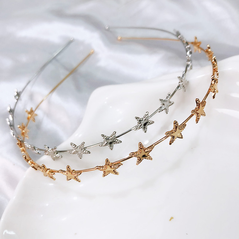 Fashion Gold Sliver Metal Star Hairband For Women Sweet Wedding Hair Accessories Tiara Elegant Girls Headband Headwear
