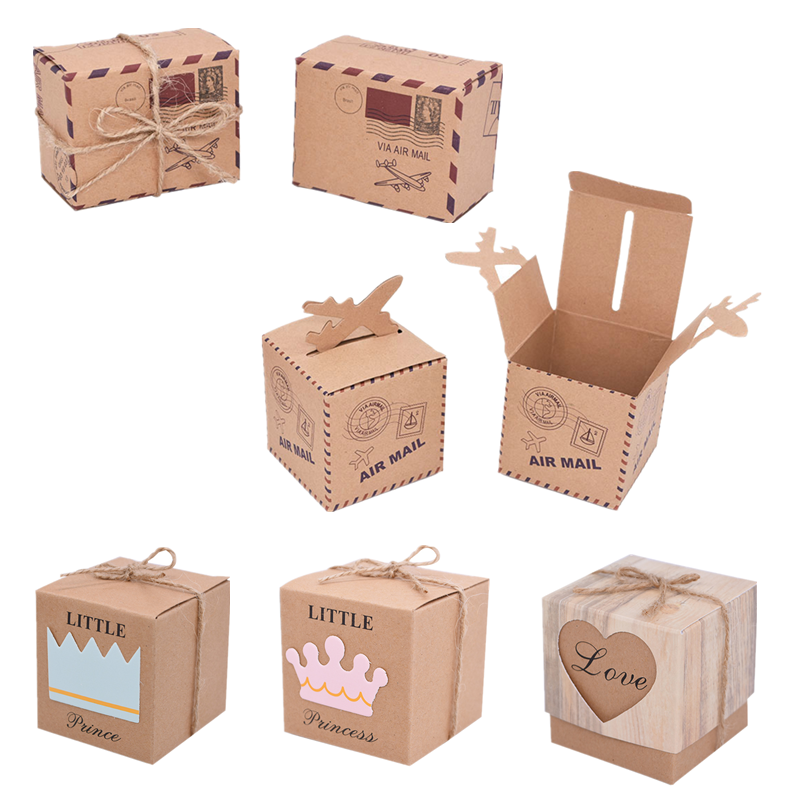 10/20pcs Vintages Kraft Paper Candy Box Crown Airplane Pattern Travel Favors Packaging Boxes Wedding Birthday Partys Supplies