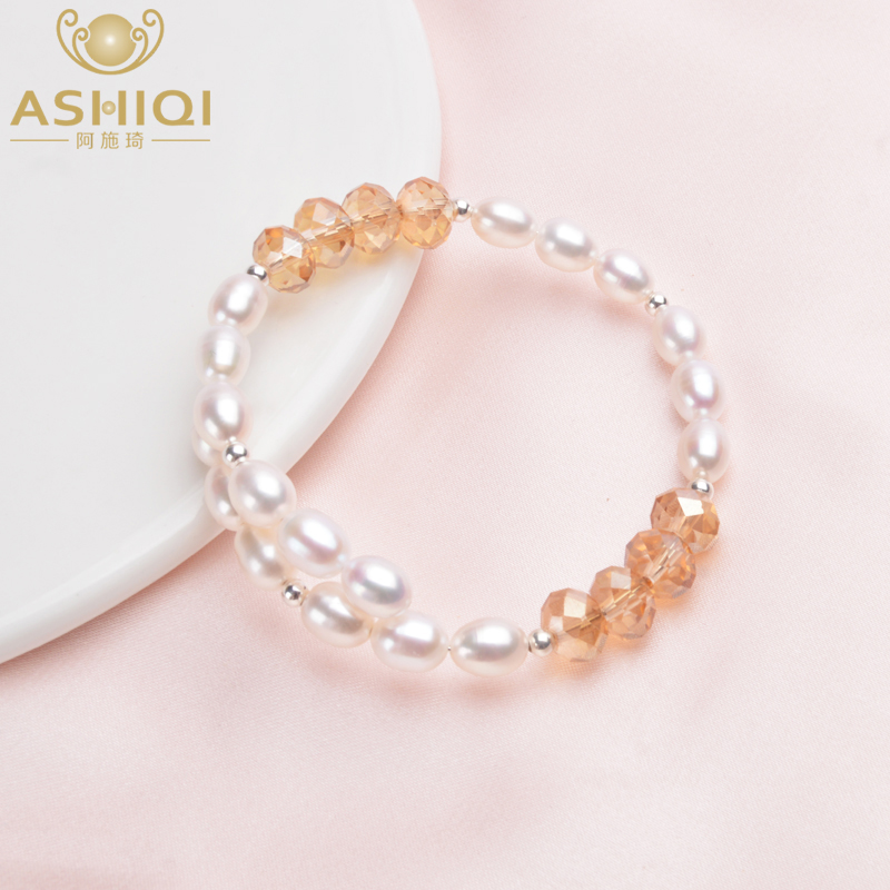 ASHIQI Genuine Natural Pearl Bracelet Bangle 925 Sterling Silver Beads For Women 6-7mm Freshwater Pearl Jewelry Gifts