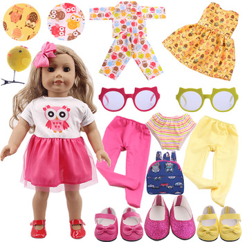 Cute Owl Pattern Doll Clothes Accessories Shoes For Our Generation American Doll 43 cm Born Baby Doll,new born baby items,Toys baby born doll clothes toys white polka dots dress fit 18 inches baby born 43 cm doll accessories gc18 36