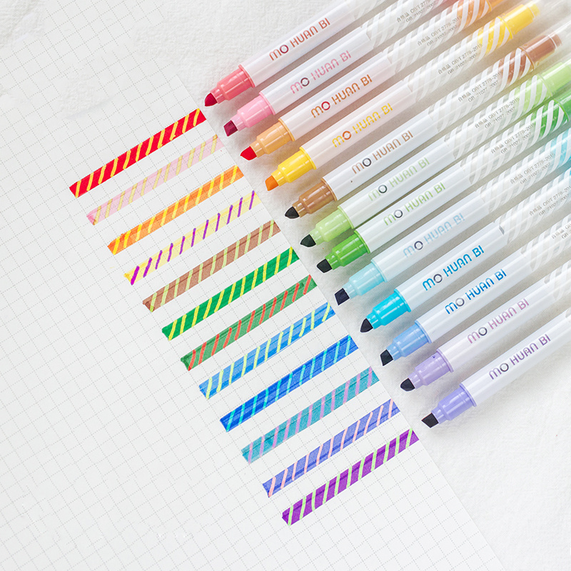 12pcs Magic Color Highlighter Pen Set Dual-side Fluorescent Erasable Marker Liner Drawing Art Pen Stationery Office School A6809