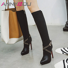 Купить с кэшбэком ANNYMOLI Winter Long Boots Women Boots Buckle Stiletto High Heels Knee High Boots Rivets Zipper Shoes Female Autumn Big Size 43