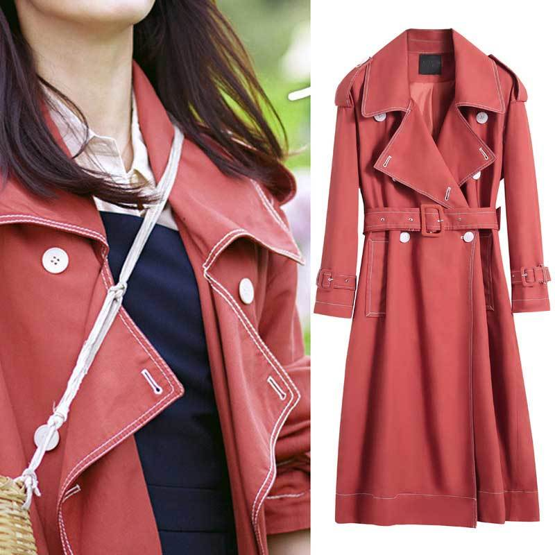 2019 Autumn Women   Trench   Coat With Belt Women Clothes Wide Laple Long Coat Casaco Feminino Abrigo Mujer Long Sleeve   Trench   Femme