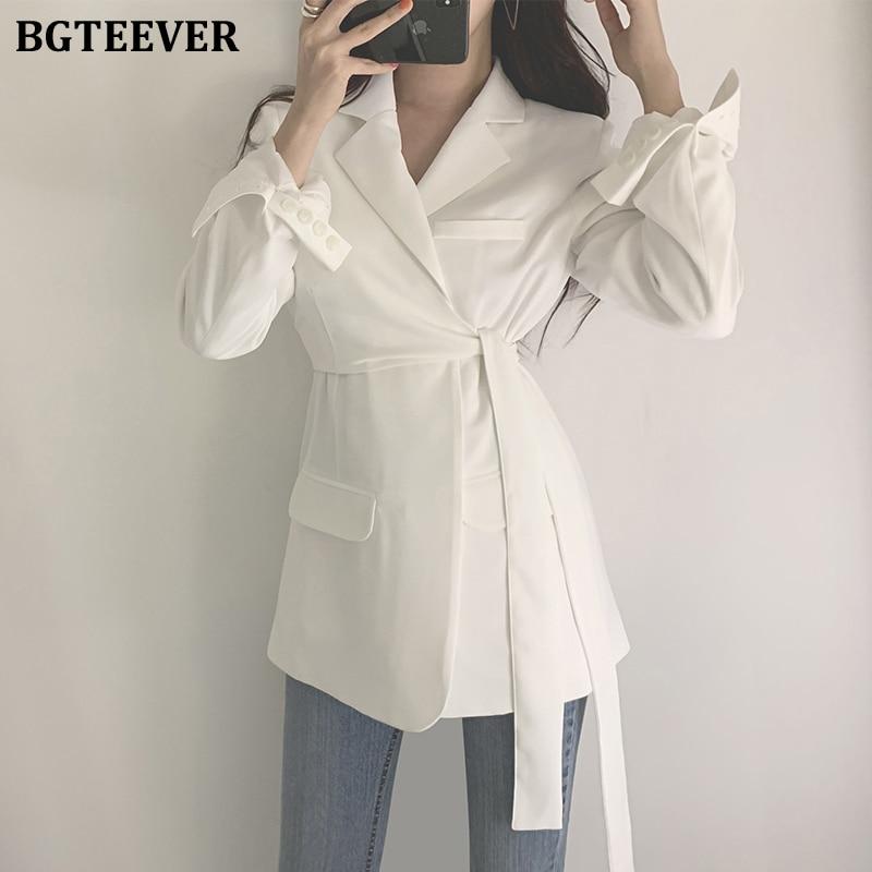 BGTEEVER Slim Women Blazers Jacket Notch-neck Long Sleeve Belted Female Suit Jackets OL Style Ladies Blazer Jackets Spring 2020
