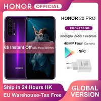 "Globale Version EHRE 20 Pro Google Spielen Smartphone 6.26 ""'8GB 256GB Kirin 980 Octa Core 48MP Kamera Mobile telefon Android NFC"