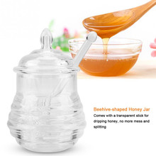 TTLIFE Honey Jar with Rod 245ml Transparent Jars and Lids Beehive-shaped Dripper Stick for Storing Dispensing