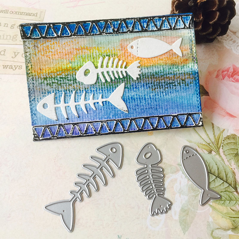 Cutting Dies Gift Pattern Diary Book Fish Bone 3pcs Cute Eco Friendly Photo Birthday Decor Cards Party Supplies Kid'S DIY in Cutting Dies from Home Garden