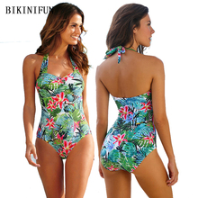 2020 New Sexy Tropical Leaves Print Swimsuit Women One Piece Suit Backless Halter Swimwear S-4XL Girl Plus Size Floral Monokini lucky brand women s plus size tropical americana tank