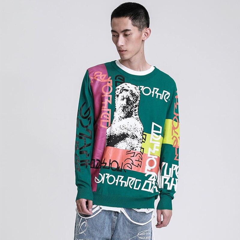 Мужской свитер с принтом граффити, пуловер с буквенным принтом, забавный спортивный костюм, мужские свитера в стиле хип-хоп, трикотажная Ули...
