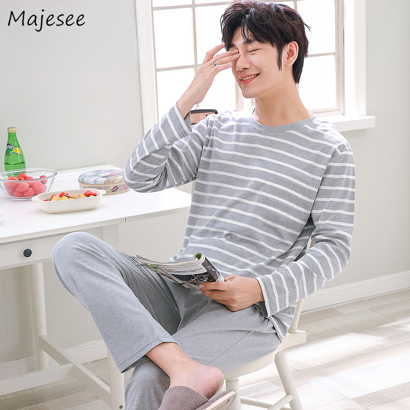 Pajama Set Men Long Sleeve Striped O-neck New Fashion Korean Style Mens Plus Size Home Clothes Males Comfortable Pajamas Casual